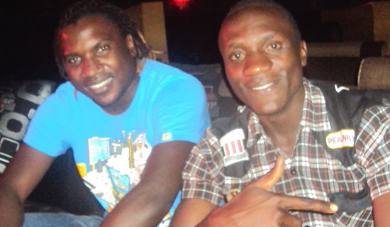 Turkish based footballer Hassan Wasswa and Dodovick. PHOTO BY JONATHAN KABUGO