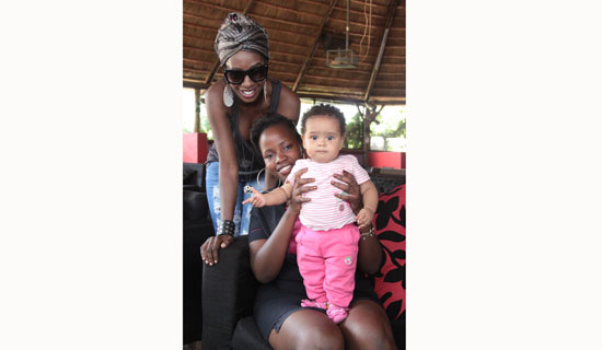 YYvonne hangs out with Cindy and her daughter, Armani. PHOTO BY ISMAIL KEZAALA
