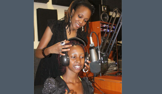 Cleo lets Lindah try out her job as a radio presenter. PHOTO BY ISMAIL KEZAALA