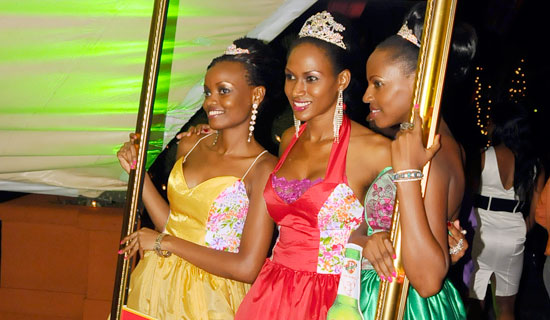 Reigning Miss Uganda Sylvia Namutebi (middle) with her runners-up at the launch of this year's search.