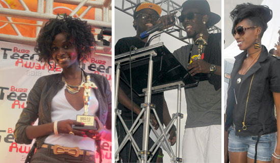 Hellen Lukoma picked up the Best TV Show trophy on behalf of The Hostel. Rapper Mun G accepts his best male artiste accolade. He picked four trophies. Cindy at the awards.