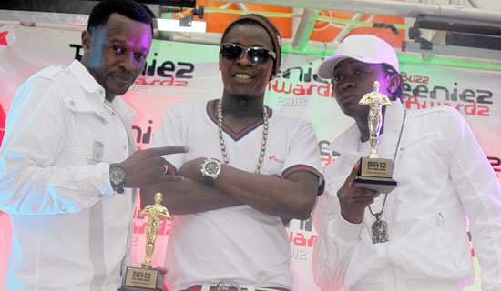 DJ Shiru, Jose Chameleone and AK 47 at the Teeniez Awards.