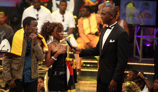 I.K interviews Uganda's Big Brother representatives Kyle and Jannette as they entered the house on Sunday. Courtesy photo
