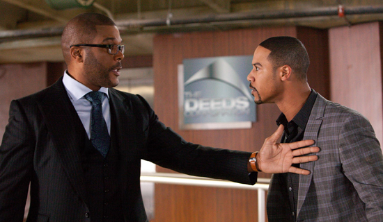 Wesley Deeds (Tyler Perry, left) and Walt Deeds (Brian White, right) in Tyler Perry's Good Deeds.