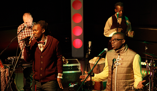The Ganda Boyz during a live performance. Originally Da Twinz, Denis and Dan added American Craig Preuss to their group, rebranding as Ganda Boys. COURTESY PHOTO