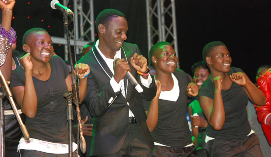 Bugembe during a concert