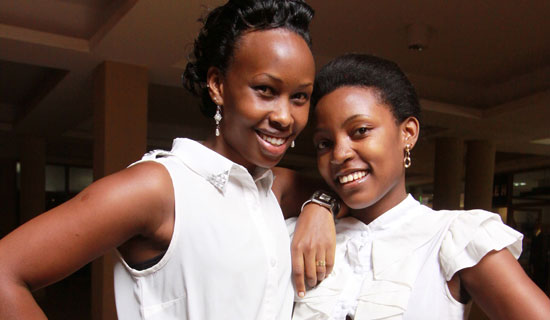 Barbie  and Rhona pose for the camera at Forest Mall after their girly chat. Photo By Ismail Kezaala
