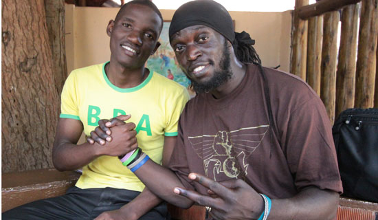 Ivan (left) and rapper Babaluku at the National Theatre. PHOTO BY ISMAIL KEZAALA