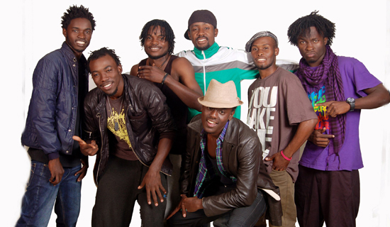 The Tabu-Flo boys will be performing at the National Theatre this weekend.  L-R: LexT,Abdanger, Mostricks, Da Hak, Gv9*, Pheel and front, Eddie Cool. Courtesy Photo.