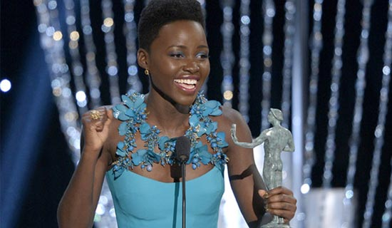 Lupita Nyog'o accepts her Screen Actors' Guild Best Supporting Actress Award last week