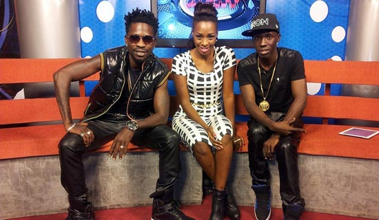 Lwanga (R), in the NTV studios with musicians Bobi Wine and Cindy.