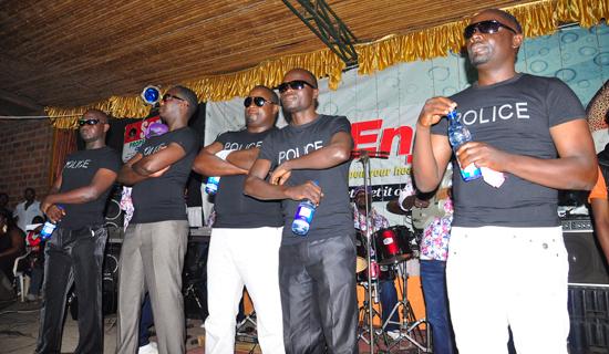 Former Eagles Production members Fred Serugga, Mesach Semakula, Grace Ssekamate, Ronald Mayinja and Geoffrey Lutaaya. PHOTOS BY MICHAEL KAKUMIRIZI