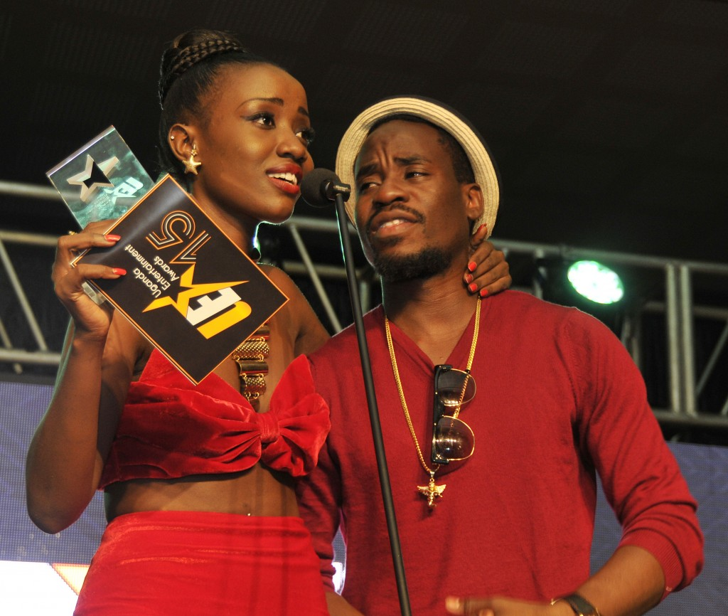Musician Lydia Jazmine (L) with Ray Signature after winning the award at Commonwealth Resort in Munyonyo on Friday