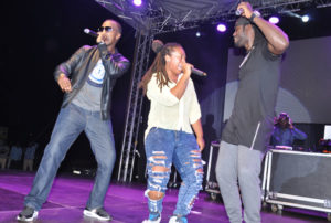 L-R: Wyre, Nazizi and Bebe Cool during their reunion performance.  PHOTO BY Eddie Chicco