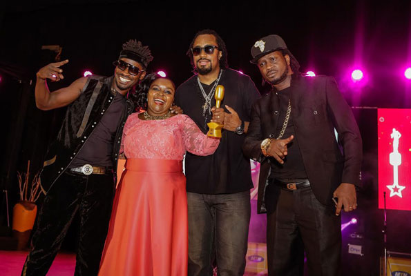 L-R: Artistes Bobi Wine, Joanita Kawalya, Navio and Bebe Cool at last year's HiPipo Awards.