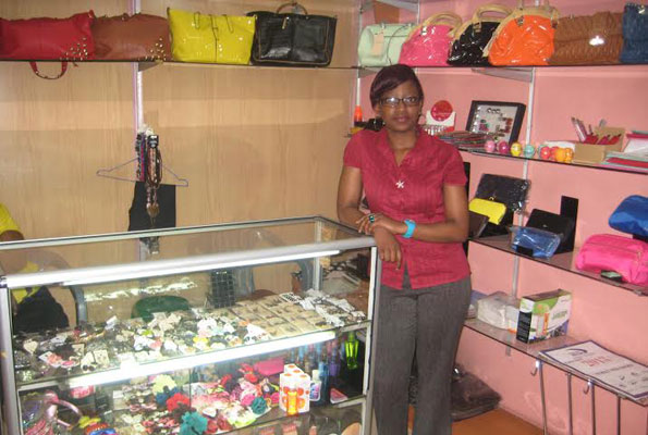 Allen Kabuye says she buys stock for her shop from Dubai, UK and Thailand. PHOTO by Isaac Ssejjombwe