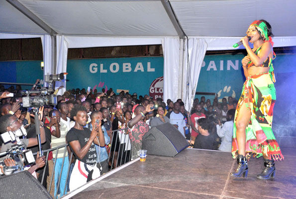 Singer Sheeba entertains the audience at Club Dome.
