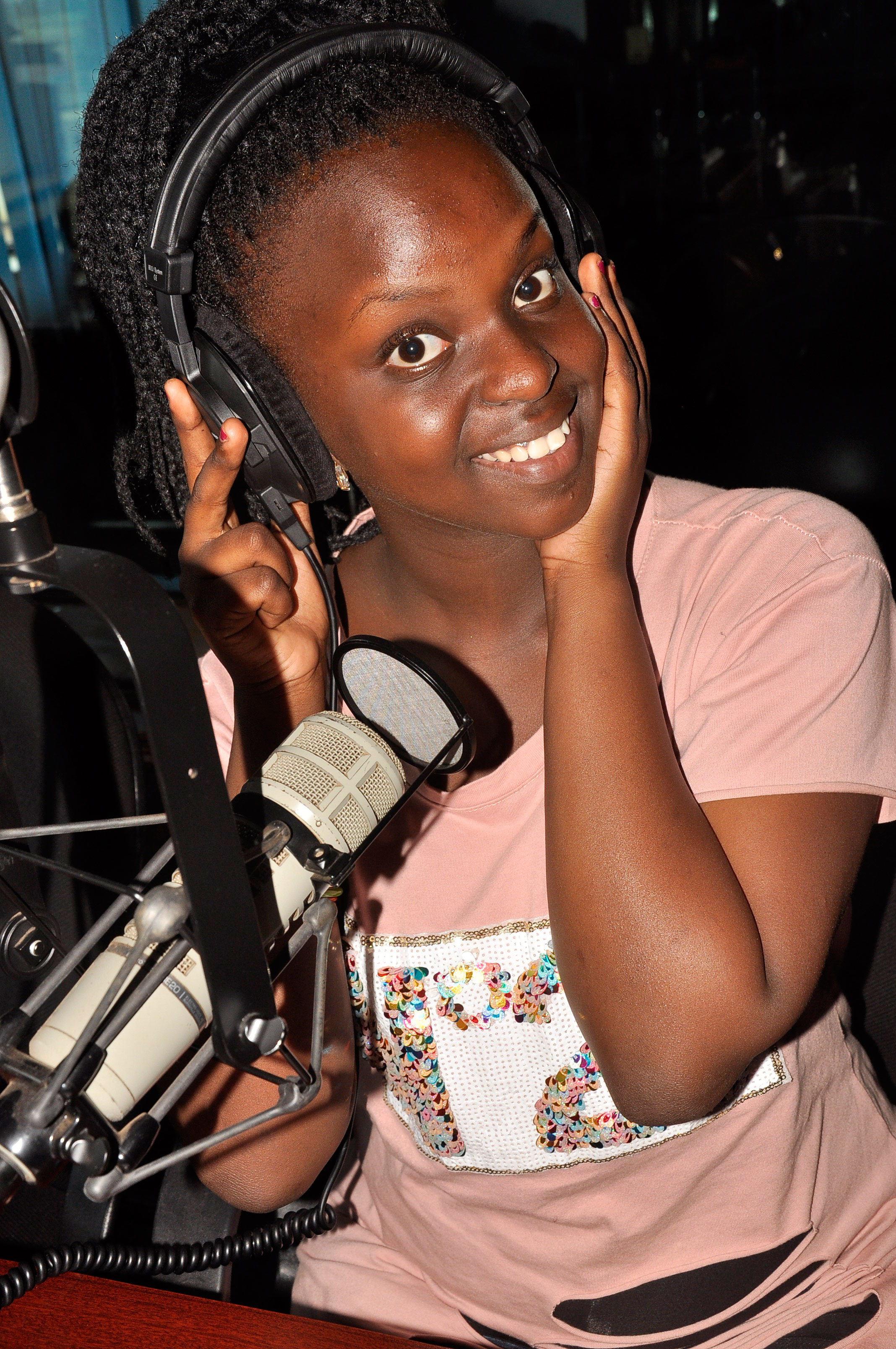 Baby Gloria during an interview at 93.3 KFM studios. Photo by Stephen Otage
