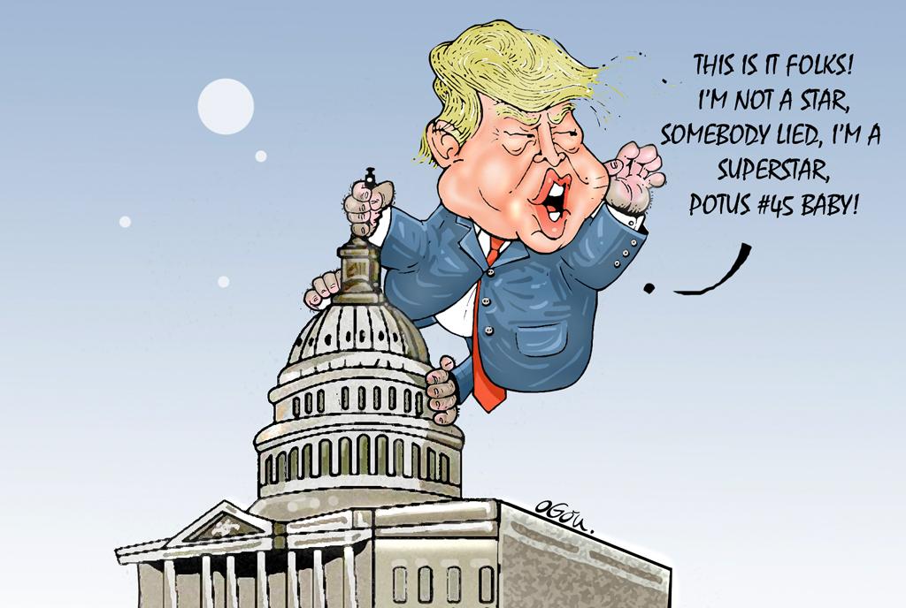 Donald Trump is King..Kong. POTUS #45. cartoon by Atukwasize Chris Ogon