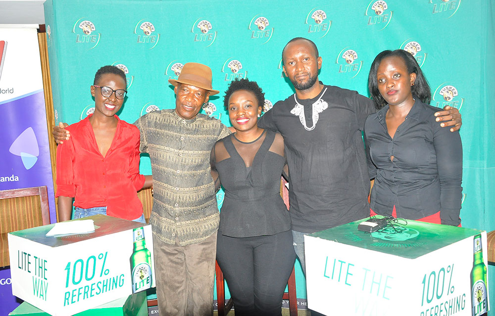 Afsa Umutesi, from House of DJs, musician Sammy Kasule, Grace Namutebi, Tusker Lite's brand manager, Qwela Junction's Joe Kahirimbanyi and NTV Uganda and Spark TV's brand manager, Mercy Natukunda, pose for the cameras at a press conference earlier today, at Kampala Serena Hotel, where the Bosses of Bass Qwela Junction is taking place this Sunday. Photo by EDGAR R. BATTE.