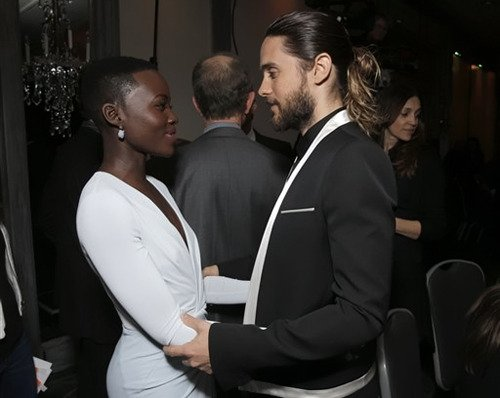 Lupita Nyong'o hugs Hollywood actor Jared Leto