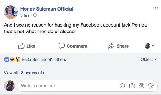 A screenshot of a post in which Honey Suleman alleges that Jack Pemba hacked into her Facebook page