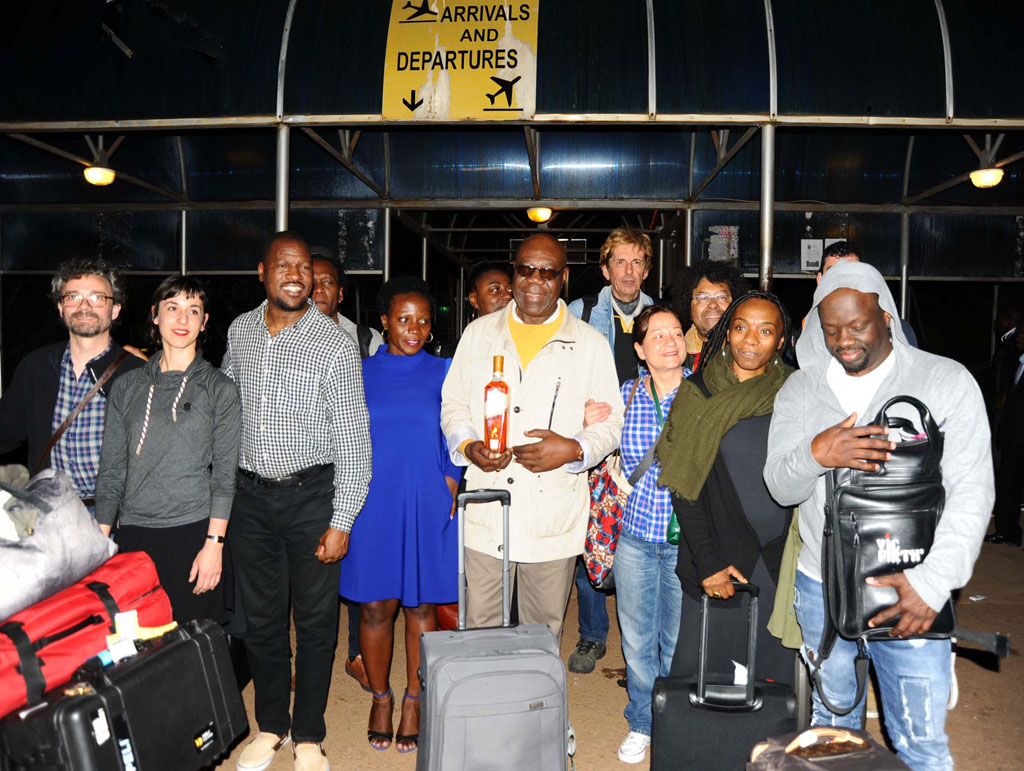 Manu Dibango touched down at Entebbe Airport on Saturday night. The concert is organised by renowned Ugandan jazz artiste Isaiah Katumwa