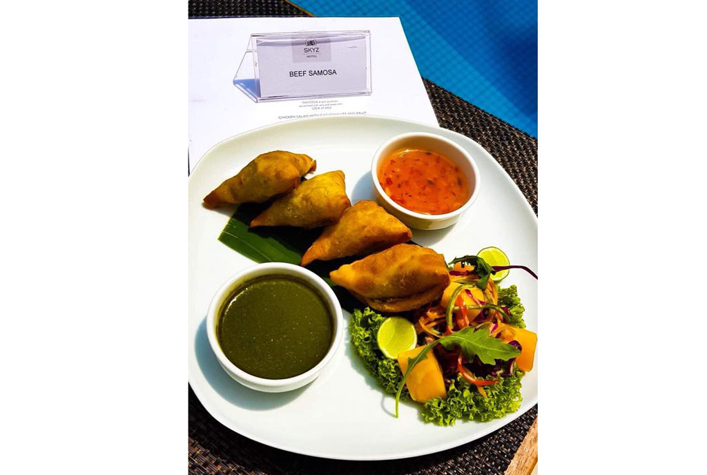 Skyz Hotel says the order on the receipt is not for one beef samosa, but for a platter of four beef samosas with raita and sweet chilli sauce