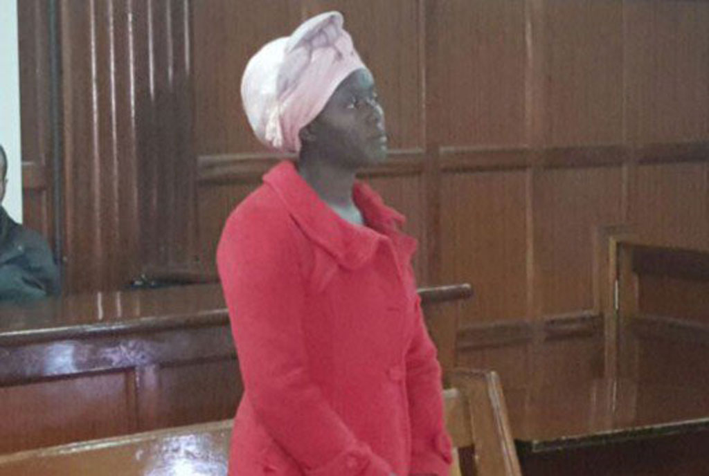 Cynthia Cherop, a student at the Moi University, when she appeared in court to answer to charges of stealing Sh70,000 from her mother's two accounts