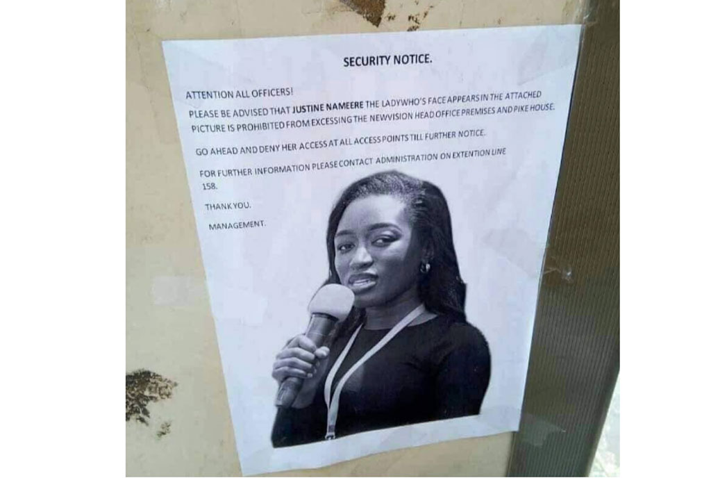 A poster a the entrance of New Vision Head office bans Justine Nameere from accessing the premises