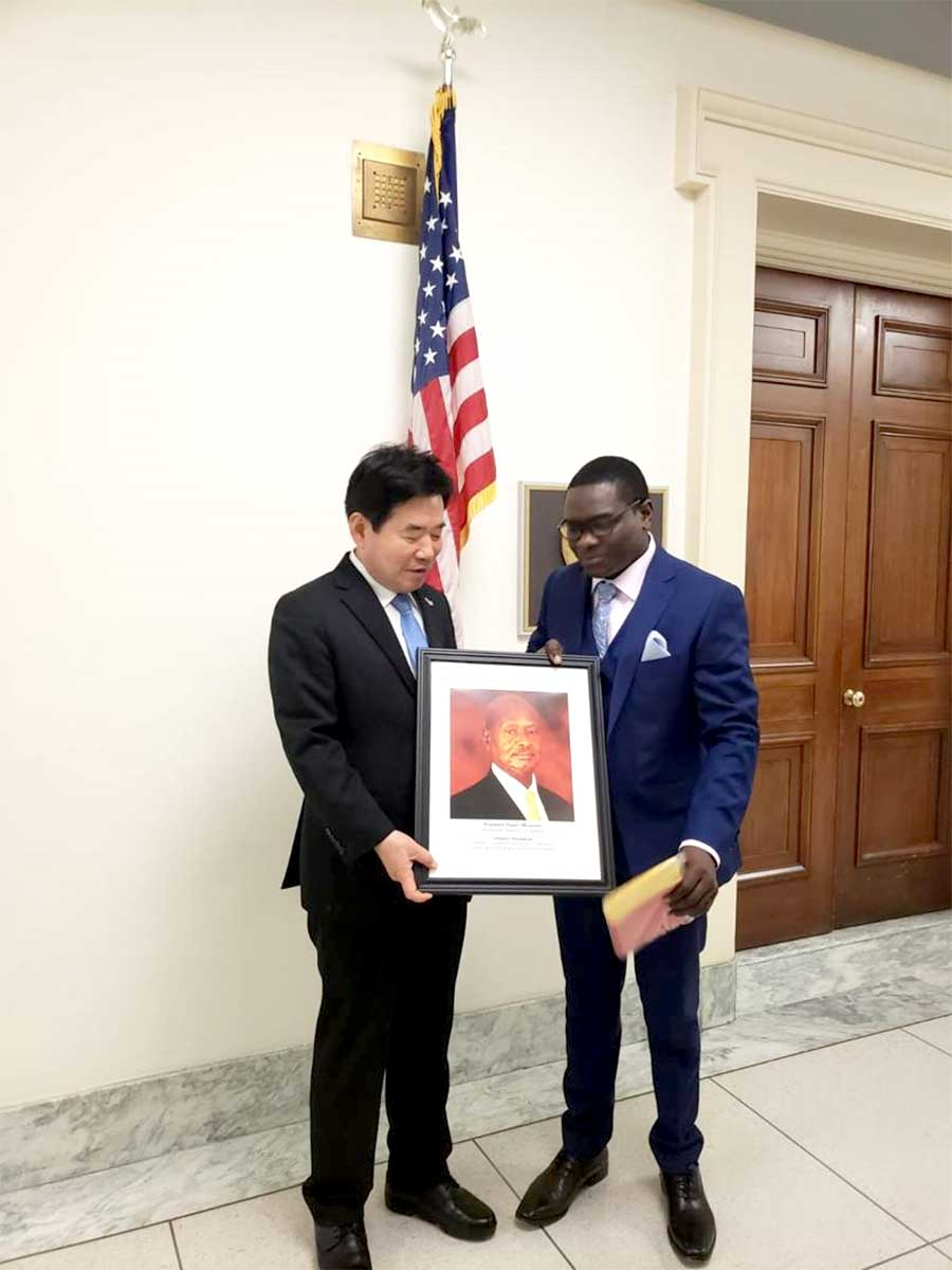 Jack Pemba with Kim Jin Pyo of the Democratic Party of Korea and a Member of the National Assembly of the Republic of Korea, Chairman Korea National Economic Advisory Council, Chairman Korea National Assembly Prayer Breakfast, Chairman President Moon JAE-IN'S Transition Committee