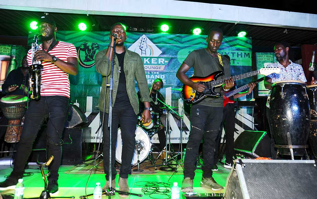 Janzi band members entertain the guests during the Tusker malt music Lounge at Gabz Lounge