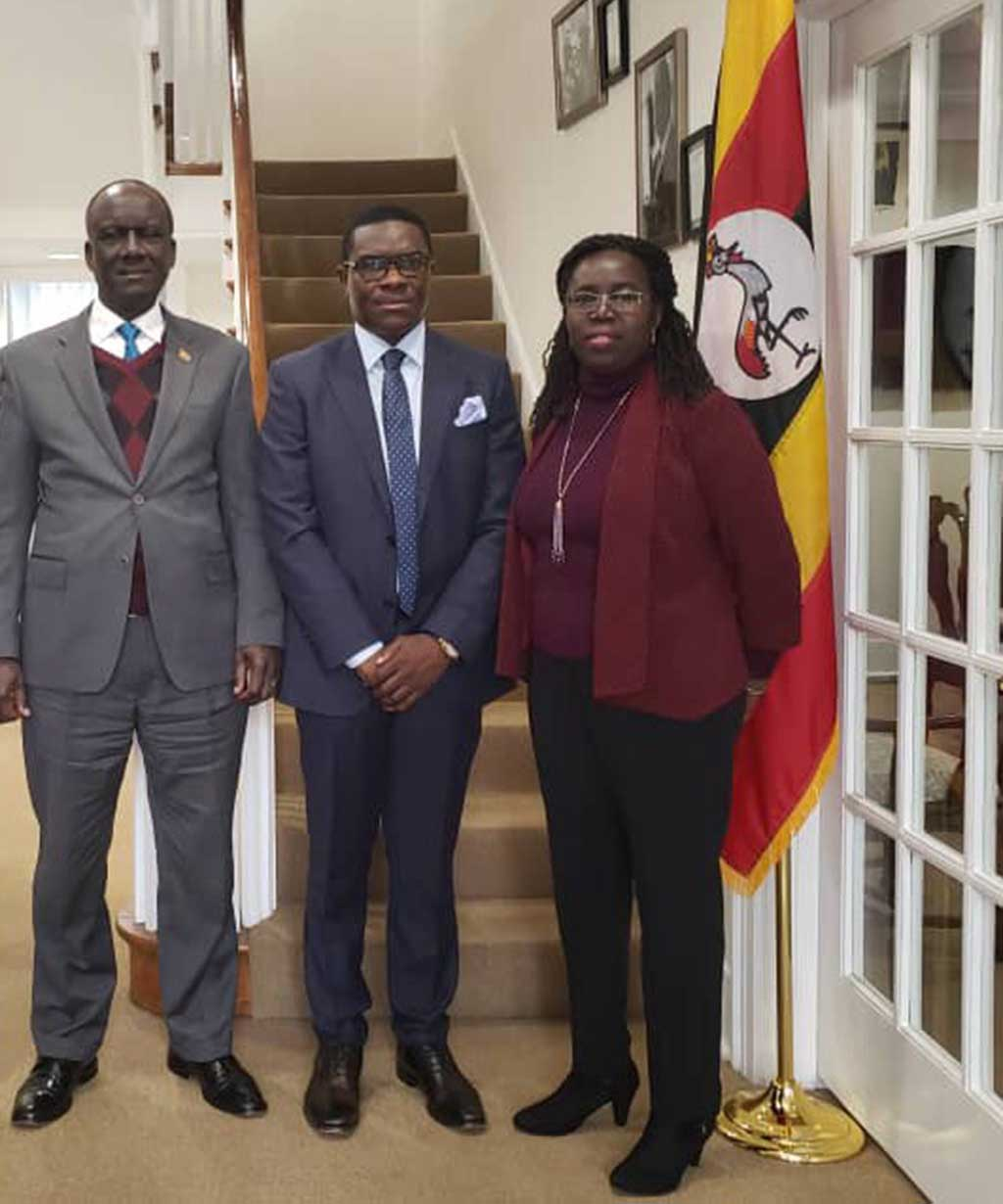 Jack Pemba,CEO Pemba group of companies (C)with Ssebujja Katende (L) Uganda's Ambassador to USA and Deputy Head of Mission Santa Mary Laker Kinyera. Courtesy photo.