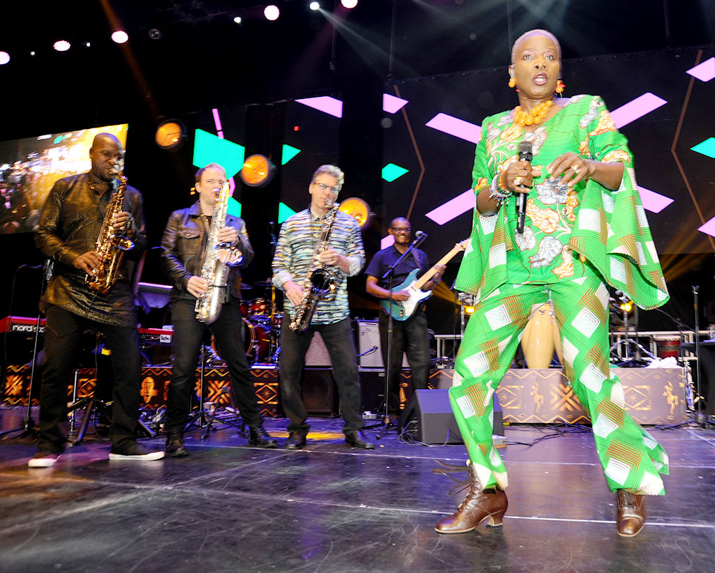 Angelique Kidjo performing at the Isaiah Katumwa's Jazzi show